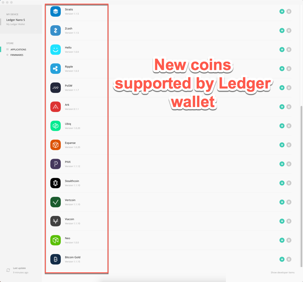 ledger nano s tokens